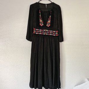 Free People Black Floral Embroidered Maxi Dress